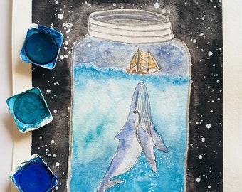 Watercolor Ocean, whale