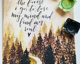 Into the forest i go, aquarell