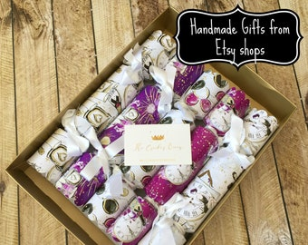 77cef7a5b16f Luxury Personalised New year and Christmas Crackers with Handmade gifts in  white and purple with gold