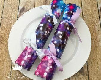 Confetti crackers etsy pink blue purple stars lights universe watercolour glitter design personalised do it yourself 8 cracker kit diy mason jar wedding favours solutioingenieria Gallery