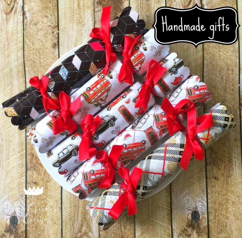 Luxury Personalised Christmas Crackers with Handmade gifts City of London glitter design