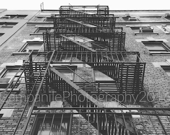 New York City Fire Escape, Black & White Photography