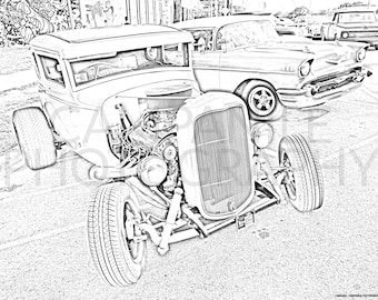 Classic Car Coloring Etsy