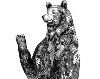 Happy Bear - Limited Edition Of 50 Signed Giclee Prints