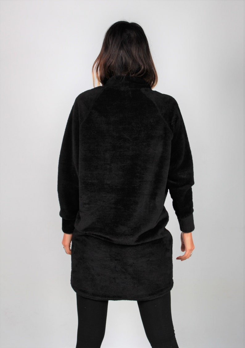 Teddy fabric oversize sweaterBlack