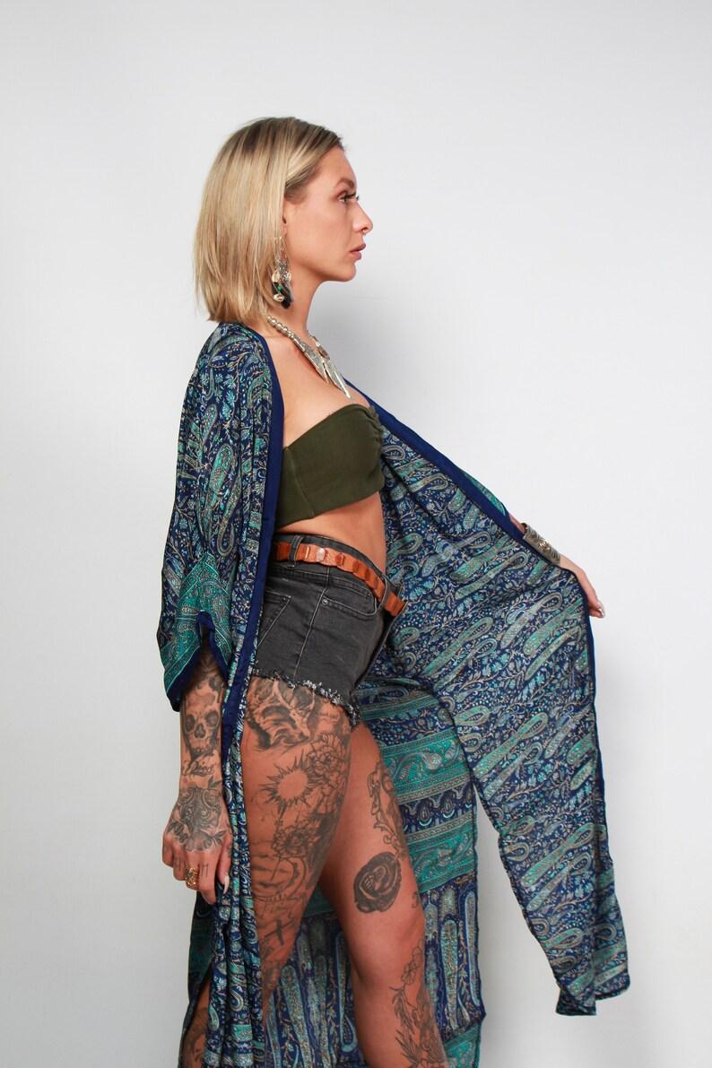Kimono kaftan wrap dressboho dress-paisleysilk