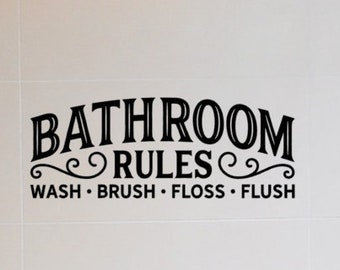 Bathroom Rules Wall Decal   Wash | Brush | Floss | Flush Toilet Vinyl Sign  Saying Quote Art Decor Sticker