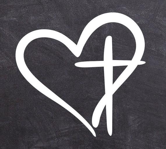 Vinyl decal for car or truck Faith Heart Easter Love of God Jesus Cross