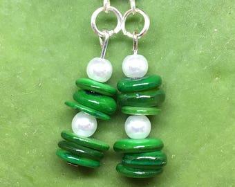 Green and White Dangle Earrings