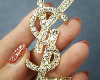 pin brooch ysl english letter diamonds gold golden