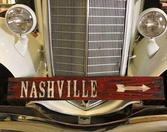 Nashville Sign, Distressed Wooden Nashville Sign