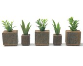 Rustic barn wood planter set with artificial plants, for farmhouse or mantel decor