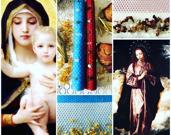 The Mary Set: Honoring the Mother, the wife and the Goddess hand rolled ritual candle set