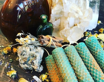 set of three (3) Super Charged ***Pentacles of Prosperity** - hand-rolled herbal oiled spell/ritual/intention beeswax candles