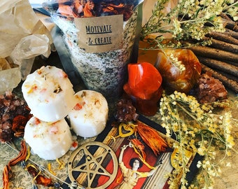 Wands of Creation- Motivate & Create Stimulating Ritual Bath Set infused with Carnelian