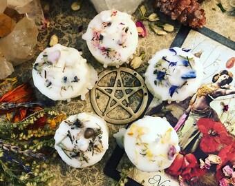 ELEMENTAL Ritual Candles SET (5) tealight/votives Spirit/Earth/Air/Fire/Water