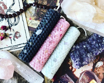 Set of three (3) CUSTOM and PERSONALIZED hand-rolled spell/ritual/intention candles