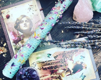 OSTARA /EOSTRE Spring Equinox Sabbat hand rolled crystal infused oiled herbal candle