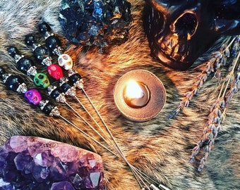 HIGH PRIESTESS XL Voodoo Doll & Witch Hat/Cloak/Bloodletting Pins