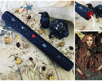 """THE MORRIGAN 8"""" Deity Honoring Altar Candle"""