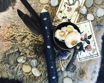 HECATE/HEKATE ***Goddess Honoring Candle*** hand rolled herbal crystal infused oiled 8 inch candle