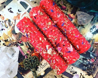 Set of three (3) Super charged ***THE LOVERS*** crystal lined herbal oiled hand-rolled spell/ritual/intention candles