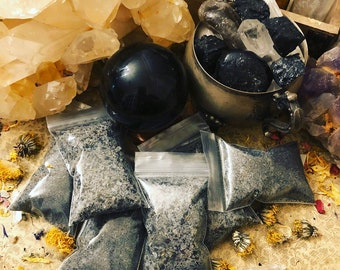 High Potency Herbal Ritual Black Salt with Elderberry & Atropa Belladonna (Deadly Nightshade) for Protection of body and home.
