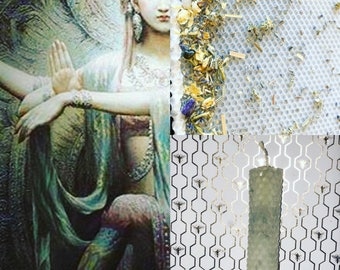 SHAKTI***Goddess Honoring Candle***hand rolled crystal infused herbal oiled 8 inch candle