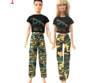 Military-style camouflage clothes//Outfit Top+Pants+Bag+Hat For 12 inch Ken Doll