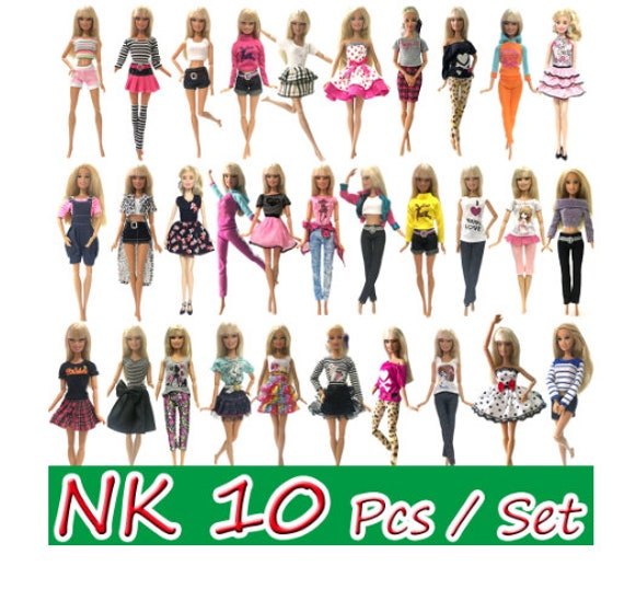 10 Pcs Princess Doll Dress Noble Party Gown For Barbie Doll Accessories Fashion Design Outfit Best Gift For Girl' Doll JJ