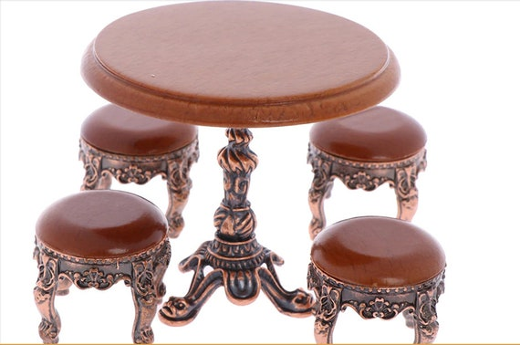 1/12 wooden Dollhouse miniature wooden furniture miniature round Wooden coffee chair / table