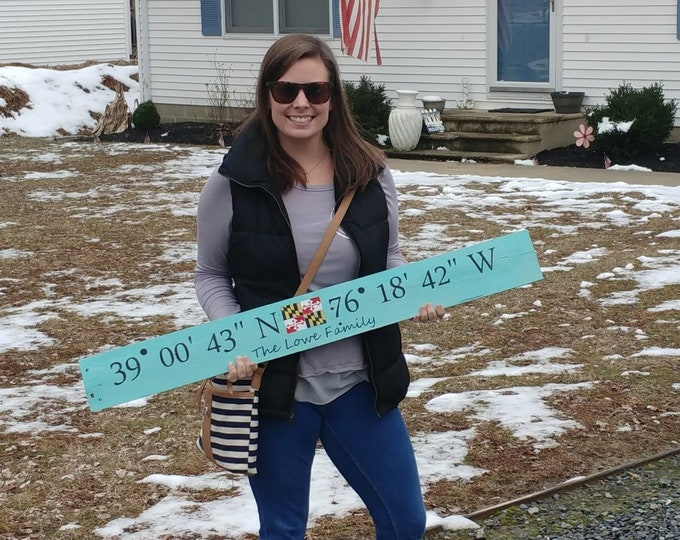 Rustic Coordinate Housewarming Gift - Actual Coordinates of your house or special location