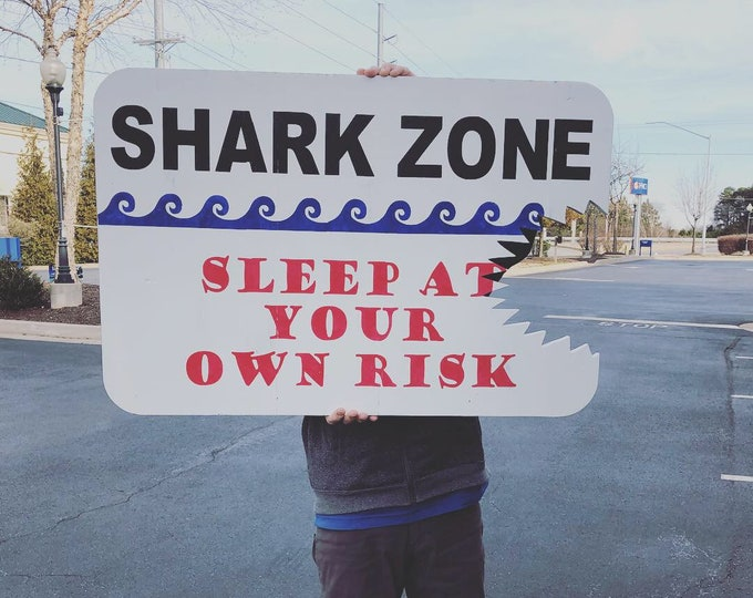 Shark Sign With Shark Bite | Shark Zone Sleep At Your Own Risk Sign with Shark Bite | Boys bedroom sign | Sign for room with Shark Theme