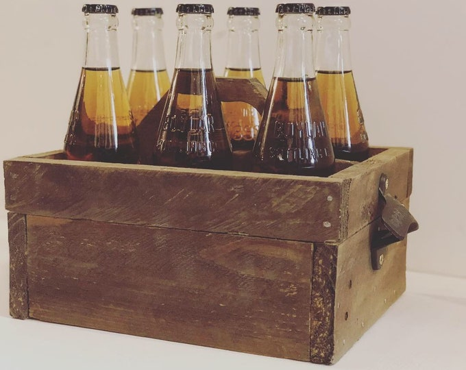 Featured listing image: Beer can or bottle 6 pack holder - great gift for the man in your life - wooden man gift bachelor party gift