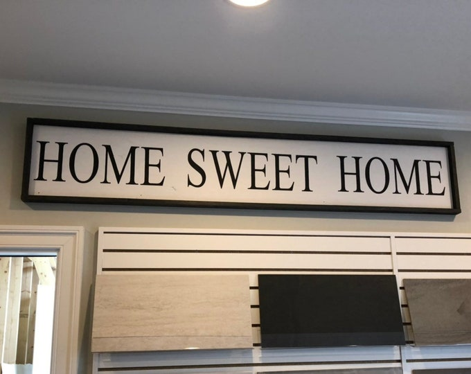 Home sweet home 6 foot framed farmhouse sign | large framed sign | horizontal sign | dining room sign