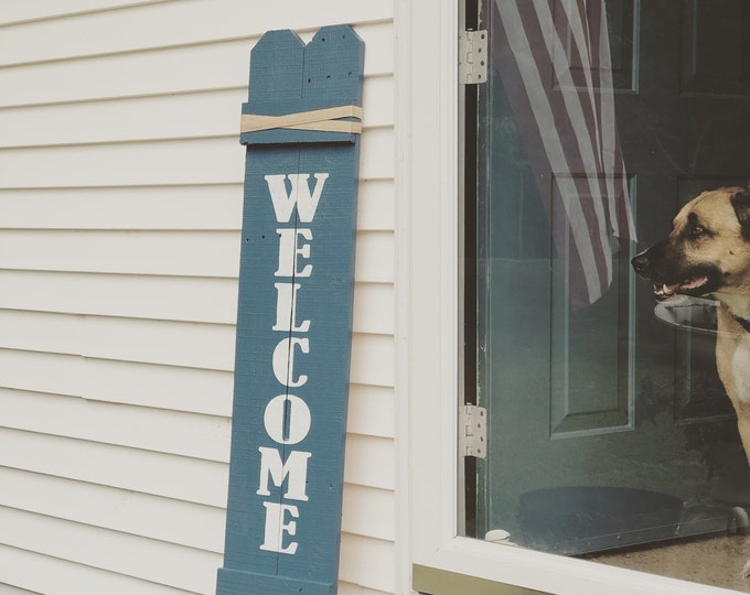 Welcome Sign for Front Porch Farmhouse Rustic Style - Custom Colors