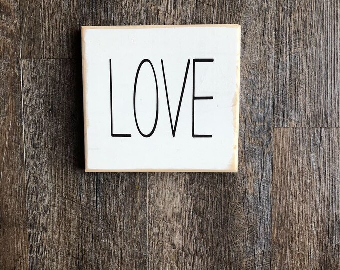 Love sign | rae dunn style skinny font word  | sign with one word | love shelf sign | coffee bar sign | small wood sign