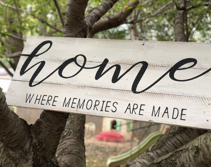 Home where memories are made sign | custom sign | headboard sign | home sign | home decor sign | sign for behind bed | behind couch sign