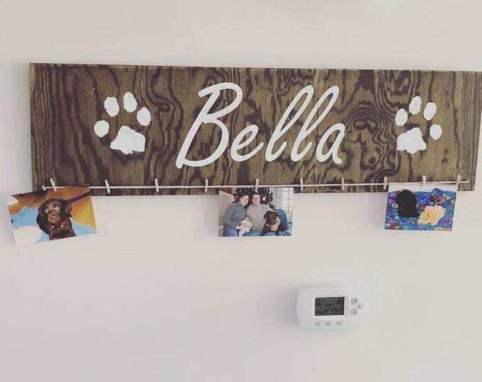 Actual PawPrints of Your Dog Custom Sign Photoholder | Pawprints Rainbow Bridge Custom Sign |
