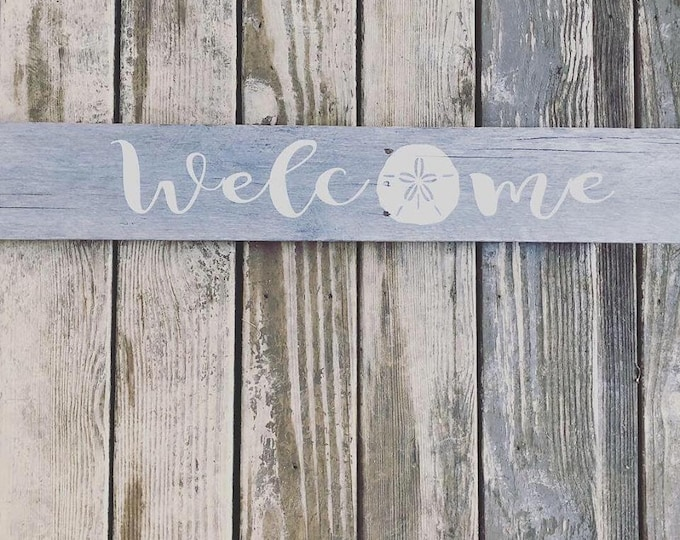Welcome Rustic Sign - Rustic Wood Sign - Sign with Sand Dollar - Rustic Primitive Wood Sign - Sand dollar decor