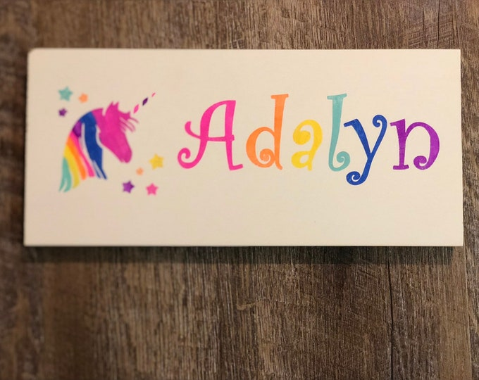 Kids name sign - choose image for sign and font from photo shown. Colors can also be customized.