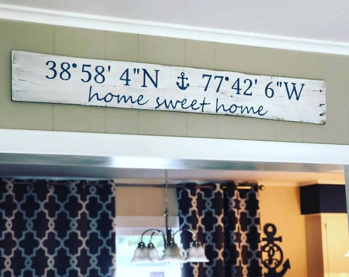 Coordinates Wood Sign | Latitude and Longitude Sign | Address Sign | Housewarming Gift | Home Sweet Home Sign | Custom Wood Sign | New House