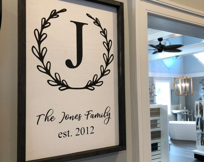 Last name initial sign with wreath | framed sign | wedding gift with last name | sign with wreath | farmhouse style decor
