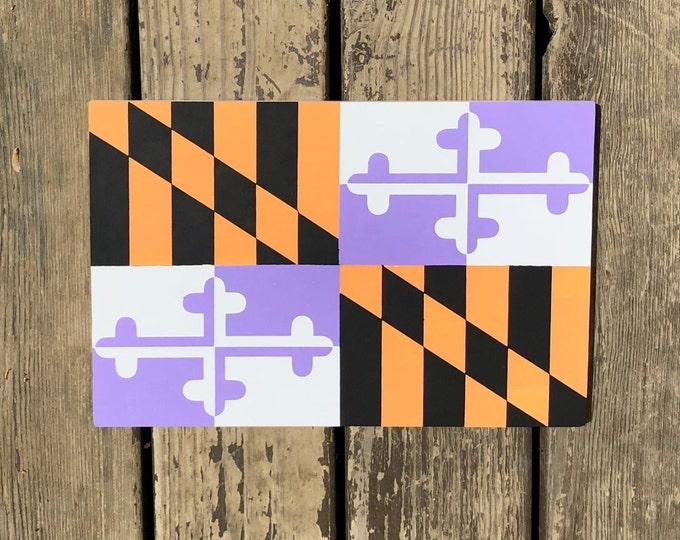 Maryland Flag Sign - Orioles and Ravens Maryland Flag - Baltimore Orioles and Baltimore Ravens Flag - Purple and Orange - Maryland Decor