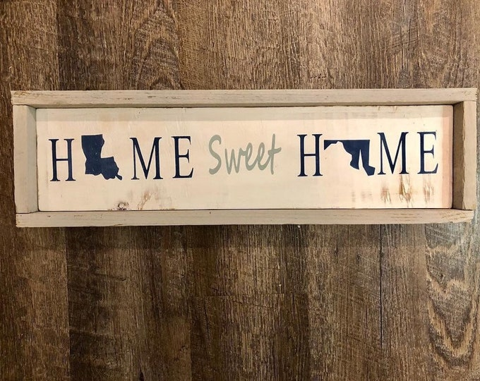 Home Sweet Home Custom State Shape Sign | Louisiana state  | Long Distance Relationship Gift | Gifts for new house | Housewarming gift