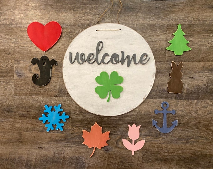 Featured listing image: Interchangeable Welcome Sign, Interchangeable Door Hanger, Welcome sign for front door,  Seasonal Welcome Sign, New Home Gift, Housewarming