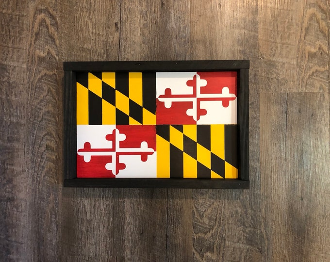 Maryland Flag Wood Sign MD Flag Red, White, Yellow Maryland Colors Maryland Pride