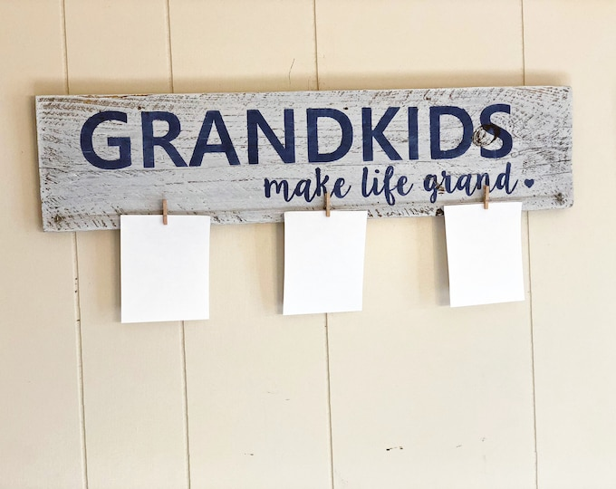 Featured listing image: Grandkids Make Life Grand Rustic Wood Sign with Photo Holder Photo Frame Grandparent Gift Gift for Grandparents Custom Photo Sign Grandkids