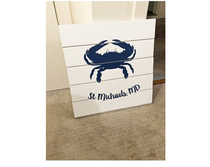 Crab Ship lap sign | Wood Sign | Coastal Style | Nautical Decor | Crab Decor Sign