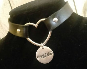 Leather Heart Choker w/ Hand Stamped Pewter Pendant - Owned - Gift for little/sub/baby/cute/princess/kitten/puppy/sweetheart/babygirl